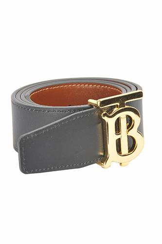 BURBERRY men's reversible leather belt, black/brown color 65