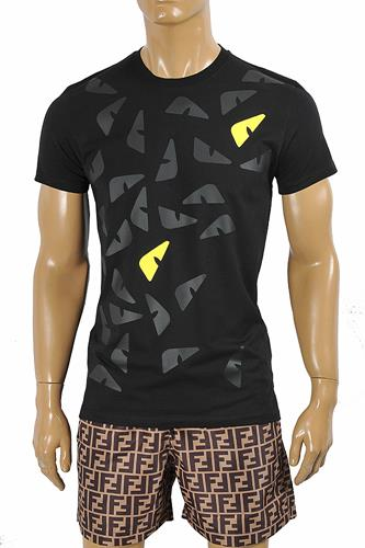 FENDI men's cotton t-shirt with front print 45