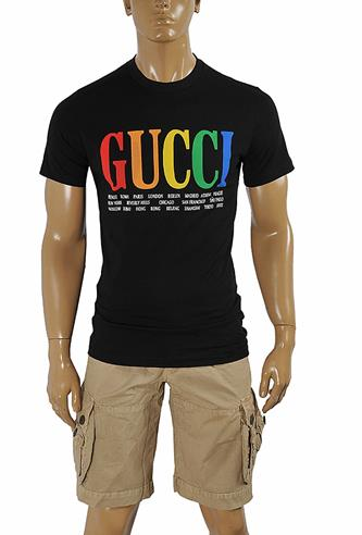 GUCCI cotton T-shirt with front print in royal black 264