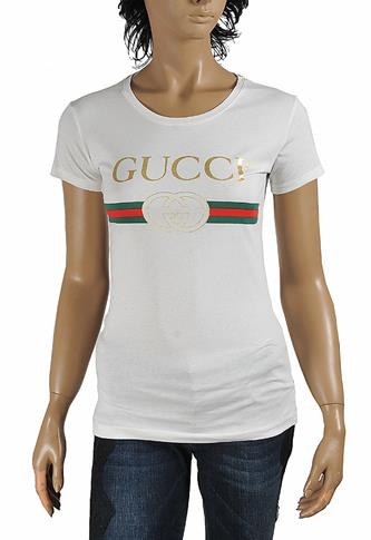 GUCCI women's cotton t-shirt with front logo print 267