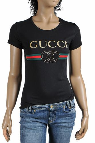 GUCCI women's cotton t-shirt with front logo print 268
