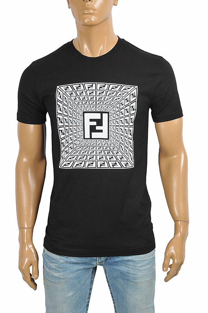 Mens Designer Clothes | FENDI men's cotton t-shirt with front FF print 43