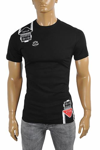 PRADA Men's cotton T-shirt with print in black 108