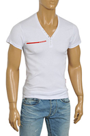 PRADA Men's V-Neck Short Sleeve Tee #76