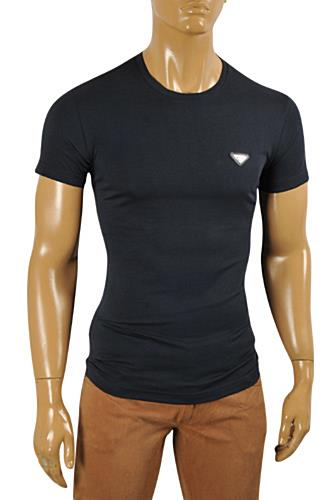 PRADA Men's Short Sleeve Tee In Navy Blue #92