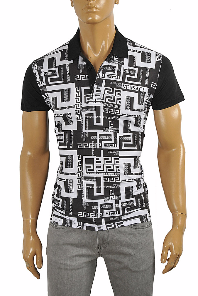 VERSACE men's polo shirt with front print #175